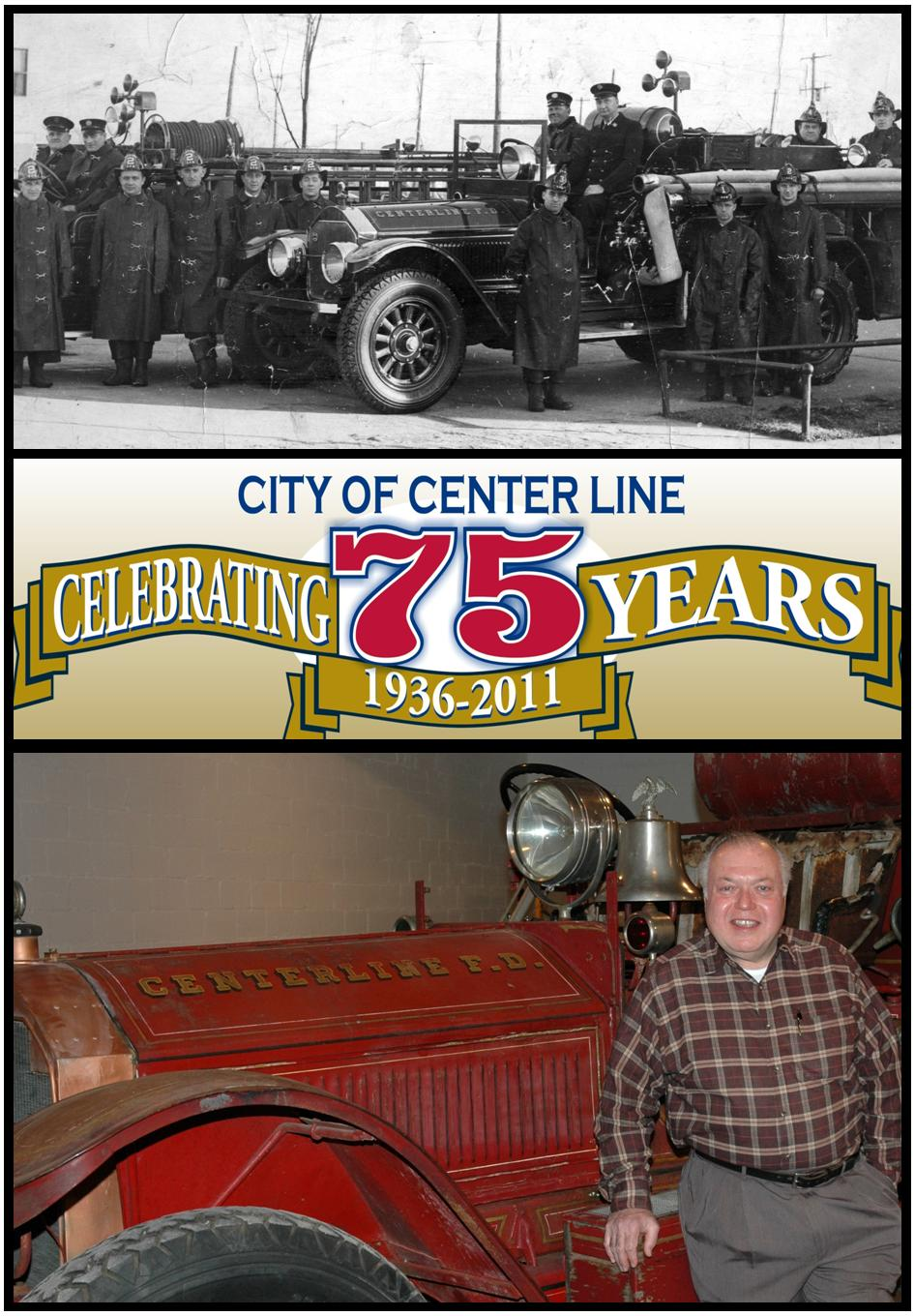 Comparative Photo of Center Line Fire Engine in the Past and Current