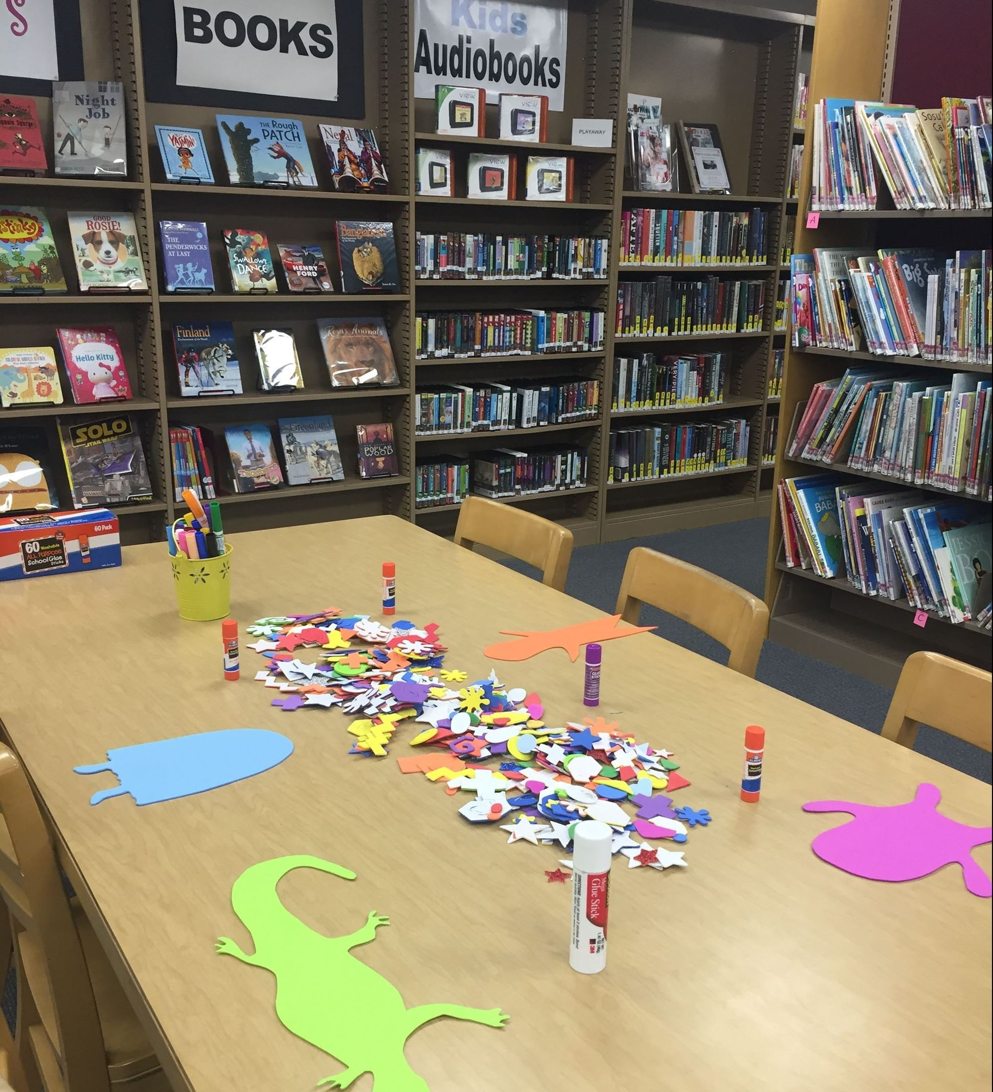Dinosaur craft at the library