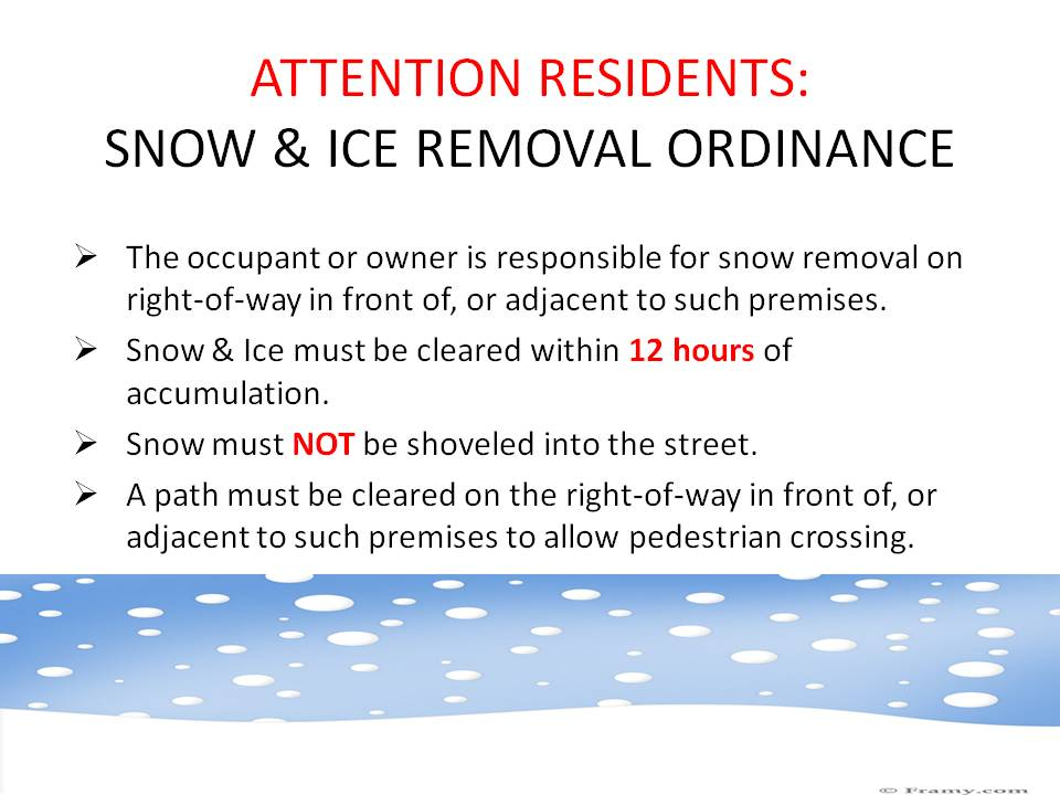 Snow and Ice Removal Ordinance
