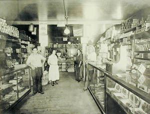 Old Black and White Photo of Buechel Store Interior