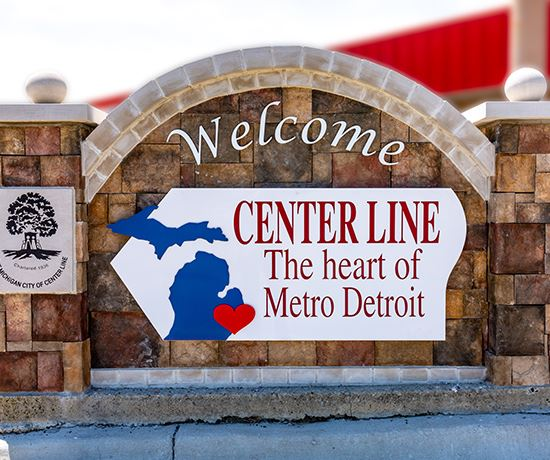 Welcome to center line the heart of metro detroit sign